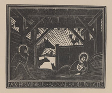 Wood engraved depiction of the Nativity, with a scene showing Mary holding Jesus and Joseph nearby. Animals are pictured just outside the stable