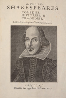 Forgery of title page of William Shakespeare's 1623 First Folio, with a portrait of Shakespeare, produced by using the photographic techniques of photogravure and photozincography
