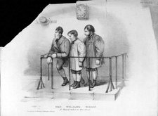 engraving of three men standing in the dock beneath a clock, labelled 'A Sketch taken at Bow Street'