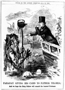 drawing of Michael Faraday in the bow of a boat holding his nose while presenting a card to the Thames presented as a dirty and hairy figure holding along a dirty staff emerging from the water