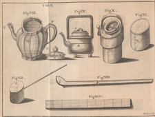 A selection of Chinese utensils used in tea drinking and preparation, including a copper vessel lined with tin, a cooling case, a kettle, a jug and a ladle