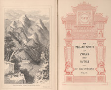 Frontispiece showing a tea plantation in Bohea, set against a a mountainous backdrop, alongside title page bordered by an image of a pagoda