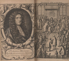 Opening showing a portrait of the author and a frontispiece showing King Charles II healing subjects knelt before him, with a large group of people gathered around