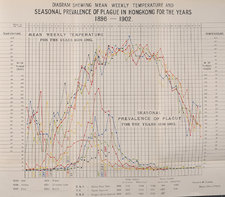 Fold-out statistical chart showing mean weekly temperature and seasonal prevalence of plague in Hongkong for the years 1896-1902, with colour graphics