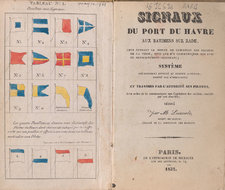 Opening showing title page and frontispiece, with a number of colour images of signal flags