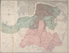 Colour map showing districts on south side of the Thames and their water supply
