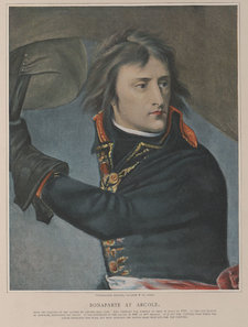 Reproduction of a painting entitled Bonaparte at the Pont d'Arcole, with Napoleon pictured in military dress