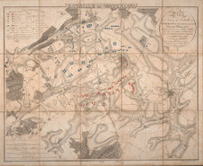 Printed map of the Battle of Waterloo with forces colour coded