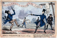 A picture by Thomas Jonesdepicting the duel between the Duke of Wellington and the Earl of Winchilsea in Battersea, 1829