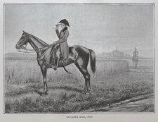 Wellington on his horse in the long grass, scanning the battlefield with a telescope