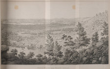 Fold-out plate showing Field Plains and the Lachlan River, with trees in the foreground