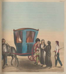 Hand-coloured plate showing a Maltese carriage and costumes encountered by a British traveller, pictured with his group