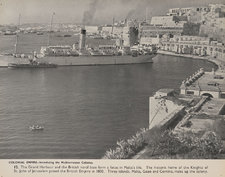 Photograph showing the Grand Harbour of Valletta and the British naval base, with various sizes of ship visible