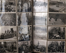 Set of photographs from a scrapbook showing celebrations of the 1953 coronation celebrations in Malta, with floats, crowds and street party celebrations shown