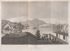 Engraving showing the port of Bathi, capital of the island Ithaca, with ships, buildings and mountains visible