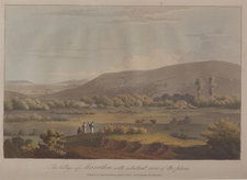 Hand-coloured aquatint view of the village of Marathon, with a distant view of the plain, with people and animals in the foreground
