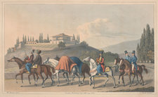 The mode of travelling in Turkey, with baggage horses and guides, and a country house in the background