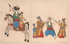 Brightly coloured specimens of Turkish drawings, with men and women on horseback and brandishing weaponry