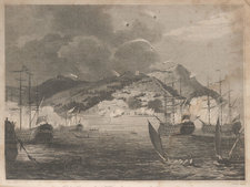 The bombardment of Algiers, with a view of the Anglo-Dutch fleet undertaking the bombardment of the coastal city