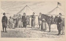 Frontispiece, based on a photograph, depicting tents and the author's travelling party and a horse