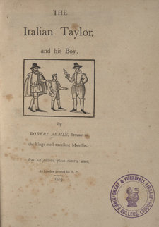 Title page showing three figures, including the Italian taylor and his boy; with Skeat and Furnivall Library collection stamp
