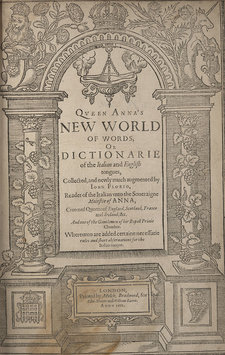 Decorative title page with British and Italian motifs, including a lion, a unicorn, a rose, and a thistle