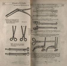 Opening depicting surgical instruments of use in treating battlefield wounds