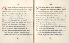 Opening from Shakespeare's sonnets, with initial rubrics and ornaments at foot of pages in red