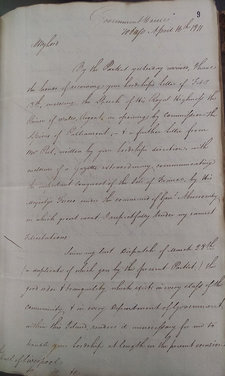 Manuscript letter from Young to Lord Liverpool, 1811, enquiring as to whether his report has been received. Courtesy of the National Archives. Reference: CO 285/16, 'Correspondence, original - Secretary of State 1811