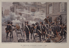 Plate showing a reproduction of a watercolour painting: The thirteenth Vendemiaire, October 5, 1795 by the Austrian artist Felician Myrbach. A battle between French Revolutionary troops and Royalist Parisian civilians on 5 October 1795 is depicted