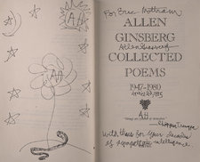Title page and facing page with inscription by Allen Ginsberg to Eric Mottram, and illustrations