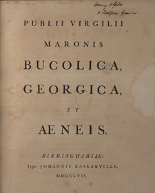 Title page of Virgil's Bucolica, printed by John Baskerville, displaying simple and elegant typography