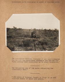 Photograph showing a lorry driving through the wilderness of the Kalahari desert region