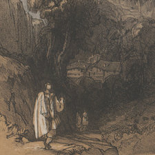 Lithograph depicting a male figure walking towards the mountain