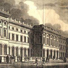 Engraving of the front of King's College London a three storey neo-classical structure with people outside in front, some in mortar boards and gowns and boys in flat round hats playing in the foreground