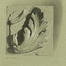 Drawing on blue paper of  a piece of acanthus leaf architectural decoration