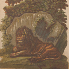 Chiaroscuro woodcut of a lion seated against a rock, under a tree