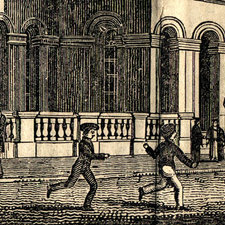 engraved image of young students playing in front of the Smirke building of King's College London shortly after it opened