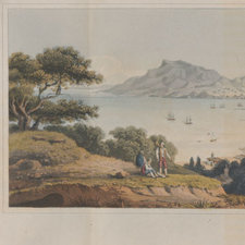 Picturesque landscape view of Zante showing sailing ships in a bay and three figures in the foreground