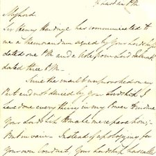 Letter to Winchelsea from Wellington