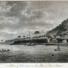 A view of Freetown, from: Thomas Winterbottom. An account of the native Africans in the neighbourhood of Sierra Leone. Volume I. London: printed by C. Whittingham and sold by John Hatchard and J. Mawman, 1803 [FCO Historical Collection DT516 WIN]