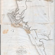 The site of Monrovia, from: Jehudi Ashmun. History of the American colony in Liberia, from December 1821 to 1823. Washington D.C: printed by Way and Gideon, 1826 [FCO Historical Collection DT633 ASH]