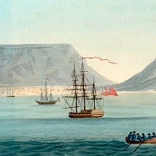 Table Bay, with Cape Town and Table Mountain in the background, from Richard Barnard Fisher'sThe importance of the Cape of Good Hope, as a colony to Great Britain. Third edition. London: printed for T. Cadell and W. Davies, 1818 [FCO Historical Collection DT2020 FIS]