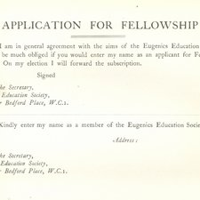 Applicatition form for Fellowship of the Eugenics Education Society, found in a copy of Leonard Darwin'sThe need for eugenic reform. London: John Murray, 1926 [Institute of Psychiatry Historical Collection h/Dar]