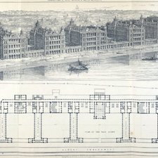 View of St Thomas's Hospital with plan taken from Henry Currey'sSt. Thomas's Hospital, London. [London] : [Royal Institute of British Architects], 1871 [St Thomas's Historical Books Collection PAMPH. BOX RA988.L8 T1 CUR]
