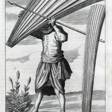 A man sheltering under a talipat leaf, from: Robert Knox. An historical relation of the island Ceylon, in the East. London: printed by Richard Chiswell, 1681 [Marsden Collection J2/1]