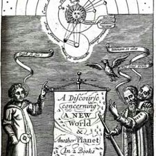 Frontispiece depicting the new heliocentric system, from: John Wilkins. The mathematical and philosophical works of the Right Reverend John Wilkins. London: printed for J. Nicholson; A. Bell; B. Tooke; and R Smith, 1708 [Rare Books Collection Q155.W68]