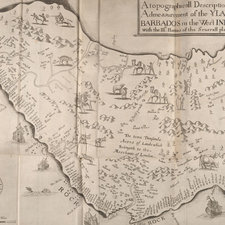 Map of the island of Barbados in around 1650, illustrated with figures and giving the names of plantations