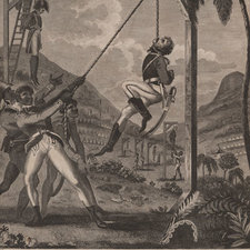 Engraved plate showing black soldiers taking revenge on the French and hanging them from gallows