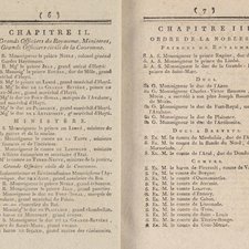 Pages 6 and 7 of pamphlet giving details of the royal household and nobility, in French